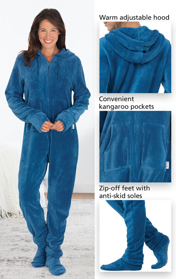 Close-ups of the features of Blue Hoodie-Footie which include a warm adjustable hood, convenient kangaroo pockets and zip-off feed with anti-skid soles image number 3
