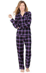 Model wearing Black and Purple Plaid Button-Front PJ for Women image number 0