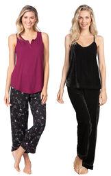 Models wearing Wine Down Tank Capri Pajamas and Velour Cami Pajamas - Black. image number 0