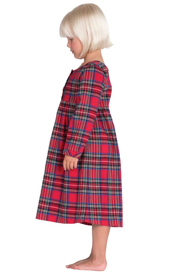 Model wearing Red Classic Plaid Gown for Toddlers, facing to the side image number 2