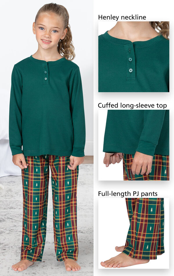 Christmas Tree Plaid Girls Pajamas feature a Henley neckline, cuffed long sleeve top and full-length pants - all shown in close-up images image number 3