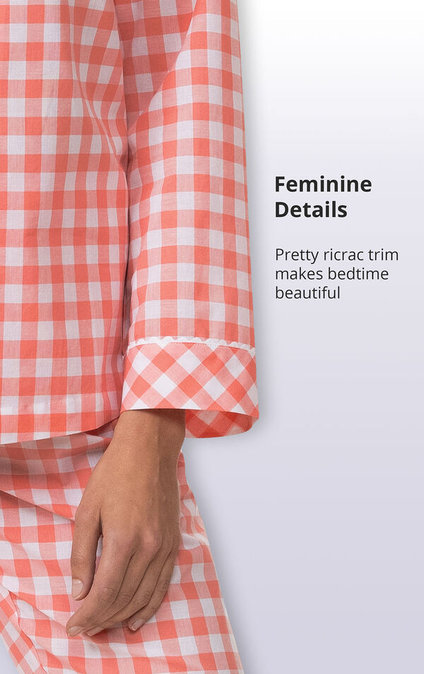 Coral Gingham Button-Front PJ for Women image number 4