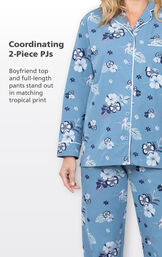 Blue Hibiscus coordinating 2-piece PJs with white trim - boyfriend top and full-length pants stand out in matching tropical print image number 3