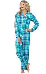 Model wearing Green and Blue Bright Plaid Button-Front PJ for Women image number 0