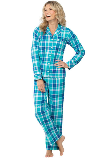 Women's Bright Plaid Boyfriend Flannel Pajamas