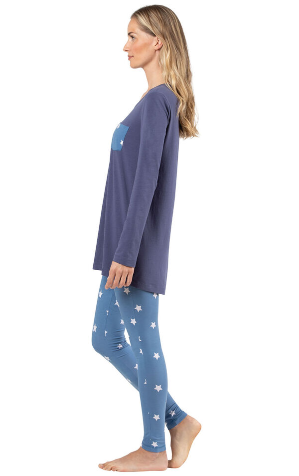 Model wearing Long Sleeve and Legging Pajamas - Navy Stars, facing to the side image number 2