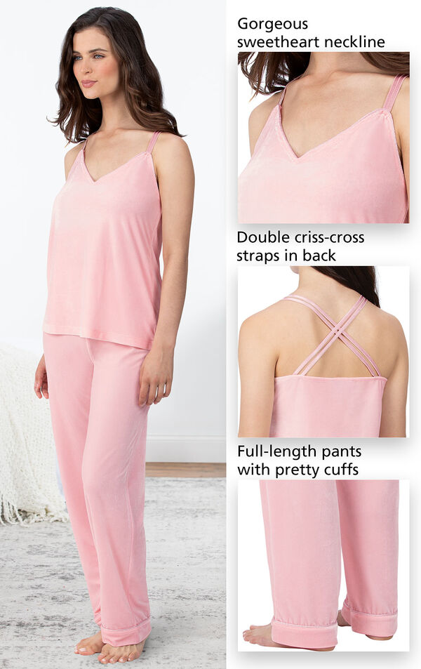 Close-ups of the features of Velour Cami Pajamas which include a gorgeous sweetheart neckline, elastic waist with adjustable drawstring and double criss-cross straps in back image number 3