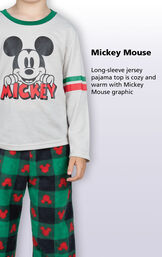 Long-sleeve jersey pajama top is cozy and warm with Mickey mouse graphic image number 2
