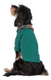 Model wearing Red and Green Christmas Tree Plaid PJ for Pets, facing away from the camera image number 1
