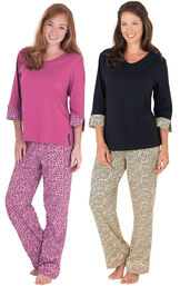 Models wearing Leopard Print Pajamas and Raspberry Leopard Print Pajamas. image number 0