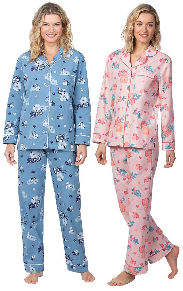 Models wearing Margaritaville Hibiscus Boyfriend Pajamas - Blue and Margaritaville Hibiscus Boyfriend Pajamas - Pink. image number 0