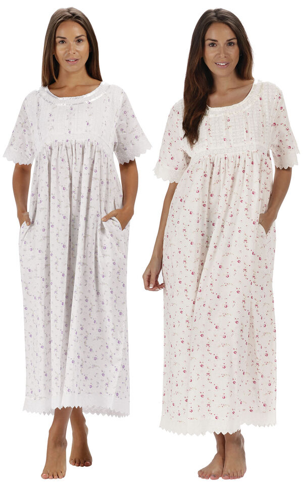 Models wearing Helena Nightgown - Lilac Rose and Helena Nightgown - Vintage Rose image number 0