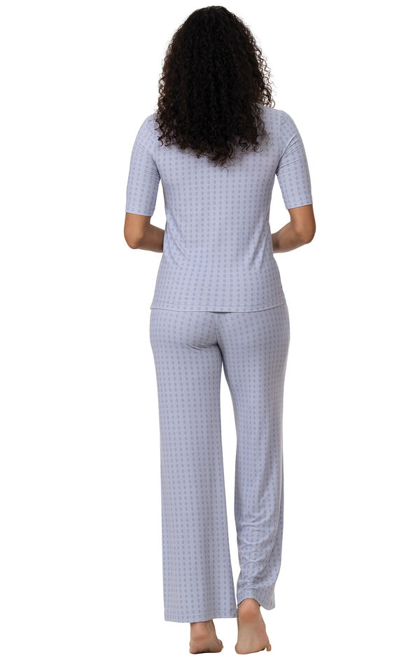 Model wearing Light Blue Stretch Knit Geo Print PJ for Women, facing away from the camera image number 1