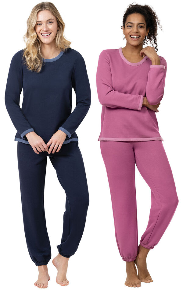 Navy and Raspberry World's Softest Jogger PJs image number 0