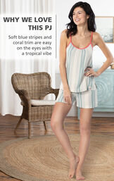 Model by chair wearing Margaritaville Cabana Striped Short Set - Blue/White with the following copy: Soft blue stripes and coral trim are easy on the eyes with a tropical vibe image number 2