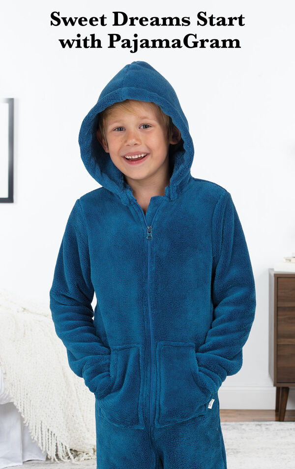 Boy wearing Blue Hoodie-Footie with the following copy: Sweet Dreams Start with PajamaGram. image number 1