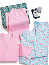 Modern Floral Boyfriend PJs and Pink Polka Dot Boyfriend PJs in a blue and pink floral gift box with a bath bomb and acai berry face mask image number 1