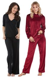 Models wearing Naturally Nude Pajamas - Solid Black and Tempting Touch PJs - Garnet.