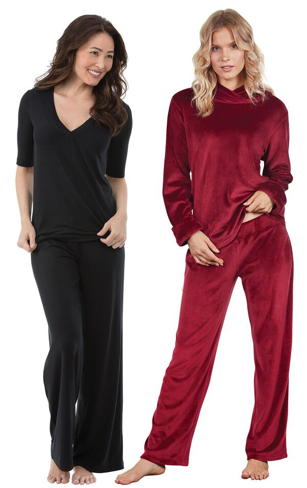 Models wearing Naturally Nude Pajamas - Solid Black and Tempting Touch PJs - Garnet. image number 0