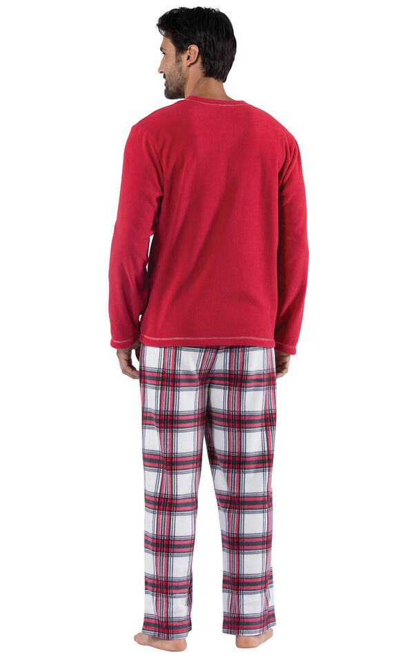 Model wearing Red and White Plaid Fleece PJ for Men, facing away from the camera image number 1