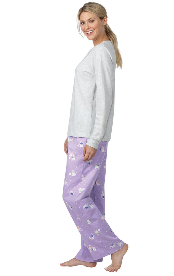 Model wearing Gray top with Lavender Cat Print Pants - Purrfect Flannel Pajamas image number 2