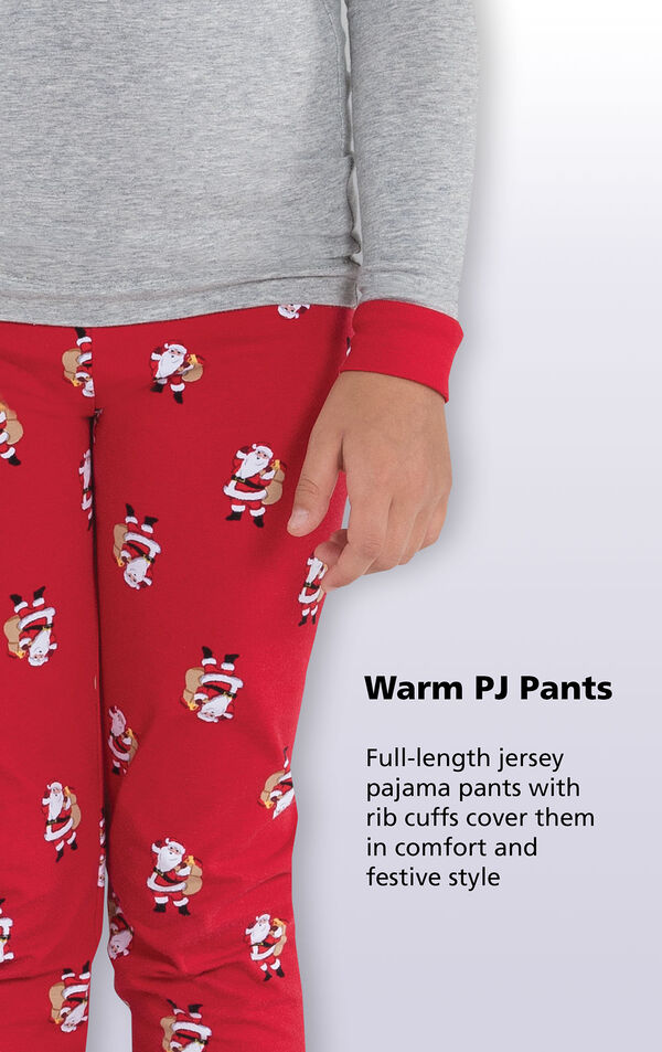 Close-up of St. Nick PJs Warm PJ Pants with the following copy: Full-length jersey pajama pants with rib cuffs cover them in comfort and festive style. image number 3