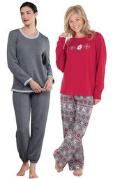 Models wearing World's Softest Jogger Pajamas - Charcoal and Nordic Pajamas. image number 0