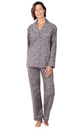Model wearing Gray Margaritaville Button-Front PJ for Women image number 0