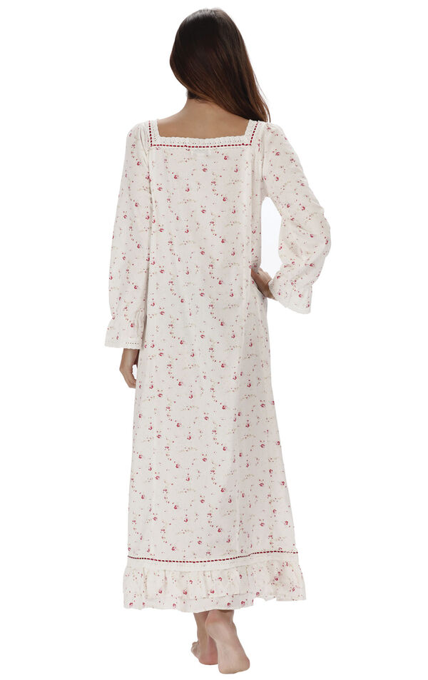 Model wearing Martha Nightgown in Vintage Rose for Women, facing away from the camera image number 1