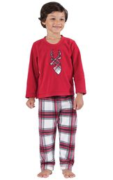 Model wearing Red and White Plaid Fleece PJ for Kids image number 0