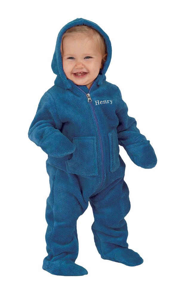 Model wearing Hoodie-Footie - Blue Fleece for Infants image number 0