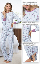 Close-ups of the features of Feather Touch Pajamas which include a crew-neck top that keeps you comfy and covered, curved hems and knit cuffs and pajama pants with classic piping trim image number 3