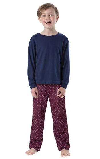 Long Sleeve Boys Pajamas - Burgundy Print
