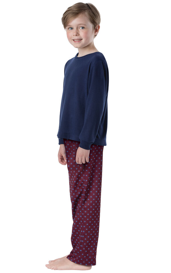 Model wearing Deep Red Print PJ for Youth, facing to the side image number 2