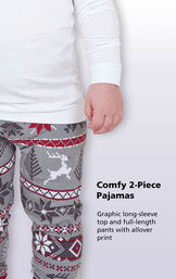 Comfy 2-Piece Pajamas. Graphic long-sleeve top and full-length pants with allover print image number 2