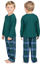 Toddler wearing Heritage Plaid Thermal-Top Toddler Pajamas, facing away from the camera and then facing to the side image number 1
