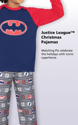 Close-up of Blue and Red Justice League Boys PJ Batman Top with the following copy: Matching PJs celebrate the holidays with iconic superheroes image number 2
