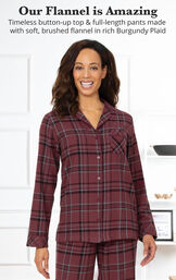 Burgundy Plaid Boyfriend Flannel Pajamas image number 2