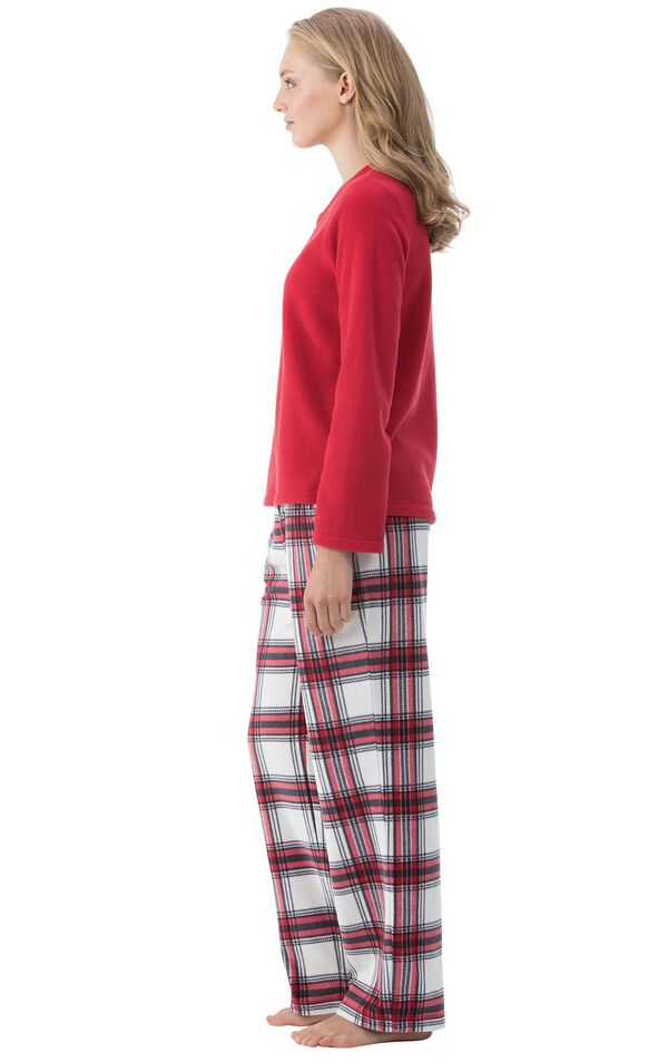 Model wearing Red and White Plaid Fleece PJ for Women, facing to the side image number 2
