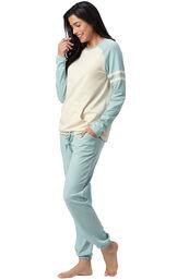 Model wearing Sunday Funday Pajamas - Aqua, facing to the side image number 2