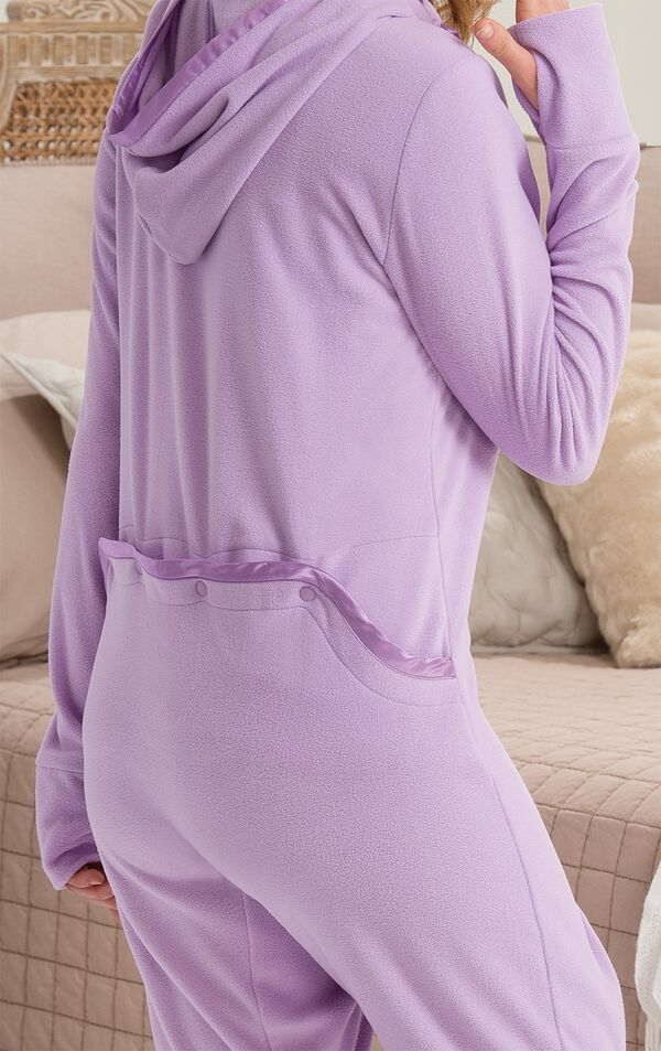Close-up of the dropseat on the Lavender Sneak-a-Peek Hoodie-Footie image number 2
