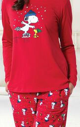 Close-up of Snoopy and Woodstock Graphic on Red Top image number 2