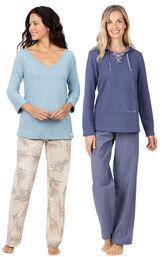 Models wearing Margaritaville Tropical Dreams Pajamas - Sand and Margaritaville Cool Nights Hoodie Pajamas - Navy.
