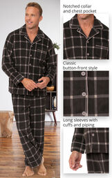 Men's Button-Front Fleece Pajamas feature a notched collar and chest pocket, classic button-front style and long sleeves with cuffs and piping image number 3