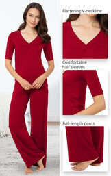 Close-Ups of Nudies PJs features which include a flattering V-neckline, comfortable half sleeves image number 3