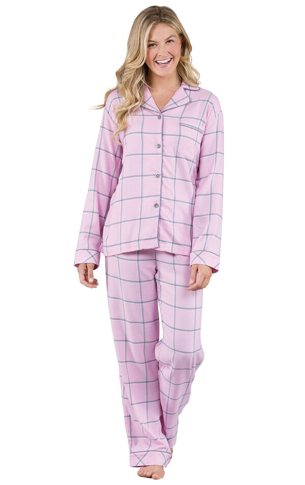 Model wearing Light Pink and Gray Plaid Button-Front PJ - Petite for Women image number 0
