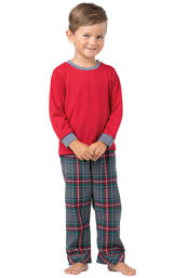 Model wearing Gray Plaid PJ for Toddlers