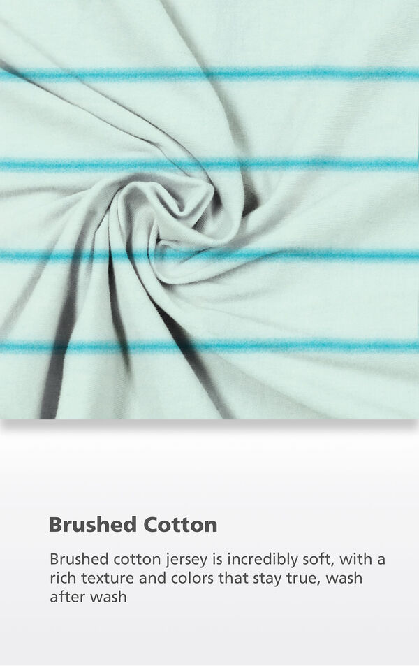 Blue Stripe Fabric with the following copy: Brushed cotton jersey is incredibly soft, with a rich texture and colors that stay true, wash after wash image number 5