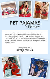 Customers wearing Matching Pet and Owner PJs by Pajamagram with the following copy: Look PAWsitively adorable in matching family and dog pajamas with 21 exclusive designs to choose from in our festive Pet PJ collection, from Dachshunds to Dobermans and your f image number 6