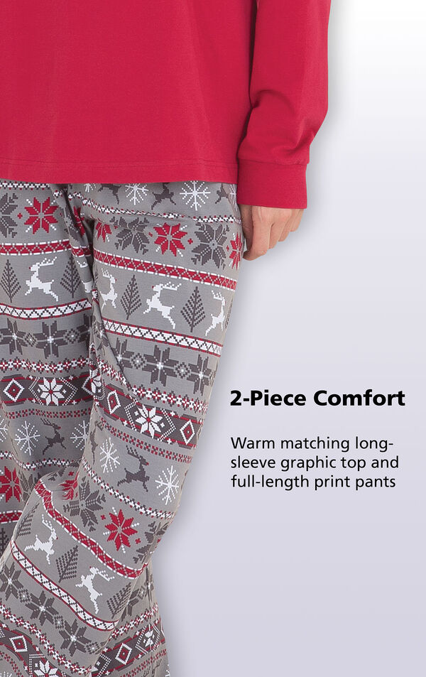 Close-up of Nordic Women's Pajamas Gray Nordic Print Pants with the following copy: Warm matching long-sleeve graphic top and full-length print pants image number 6